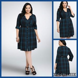 TORRID • plaid button front shirt dress